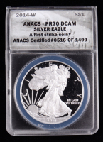 2014-W American Silver Eagle $1 One Dollar Coin - First Strike, Black Eagle Label (ANACS PR70 Deep Cameo) at PristineAuction.com