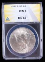 1922 Peace Silver Dollar (ANACS MS63) at PristineAuction.com