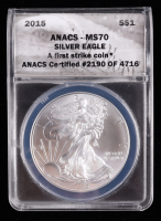 2015 American Silver Eagle $1 One Dollar Coin - First Strike, Black Eagle Label (ANACS MS70) at PristineAuction.com