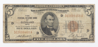 1929 $5 Five Dollar U.S. National Currency Brown Seal Bank Note at PristineAuction.com