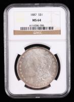 1887 Morgan Silver Dollar (NGC MS64) at PristineAuction.com