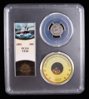 1851 Seated Liberty Silver Dime - S.S. Central America Shipwreck, with California Gold Dust - Bob Evans Signed Label (PCGS VF30) at PristineAuction.com