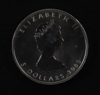 1989 Canada Maple Leaf $5 1 Oz. .999 Silver Dollar Coin at PristineAuction.com