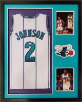 Larry Johnson Signed 34x42 Custom Framed Jersey Display (JSA COA) at PristineAuction.com