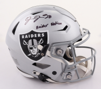 """Josh Jacobs Signed Raiders Full-Size Authentic On-Field Speed Flex Helmet Inscribed """"Raider Nation"""" (Beckett COA & Jacobs Hologram) at PristineAuction.com"""