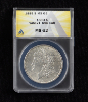 1889 Morgan Silver Dollar VAM-21 Doubled Ear (ANACS MS62) at PristineAuction.com