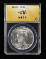 1922 Peace Silver Dollar VAM-2U1 (ANACS MS63) at PristineAuction.com