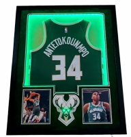Giannis Antetokounmpo Signed Bucks 34x41 Custom Framed Jersey Display with LED Lights (Beckett Hologram) at PristineAuction.com