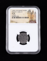 """Philip IV (1285-1314) France Denier """"Long 'O'"""" Medieval Silver Coin (NGC VF30) at PristineAuction.com"""