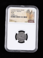 """Philip III (1270-1285) France Denier """"Philipvs"""" Medieval Silver Coin (NGC VF35) at PristineAuction.com"""