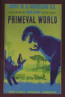 "Vintage Disneyland ""Primeval World"" 15x26 Custom Framed Print Display with Primeval World Postcard, Disney Brass Pin, & Vintage Ticket at PristineAuction.com"