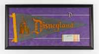 Walt Disneyland's Vintage 14x27 Felt Pennant Display with (1) Ticket Book & (1) Pin at PristineAuction.com