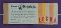 Walt Disneyland's Vintage 14x27 Felt Pennant Display with (1) Vintage Disneyland Ticket Book & (1) Pin at PristineAuction.com