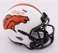 Javonte Williams Signed Broncos Lunar Eclipse Alternate Speed Mini Helmet (Beckett Hologram) at PristineAuction.com