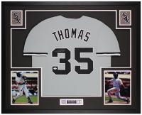 Frank Thomas Signed 35x43 Custom Framed Jersey Display (JSA COA) at PristineAuction.com