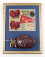 Mike Tyson Signed 17x22 Custom Framed 1950's Everlast Jack Dempsey Style Boxing Glove Display with Original Cardboard Ad (PSA COA) at PristineAuction.com