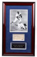 Jackie Robinson Signed Dodgers 15x24 Custom Framed Index Card Display (PSA Hologram) at PristineAuction.com
