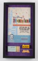 Vintage Disneyland 14.5x25.5 Custom Framed Shadowbox Poster Print Display with Vintage Ticket Booklet, Vintage Cast Member Uniform Patch & Flash Light at PristineAuction.com