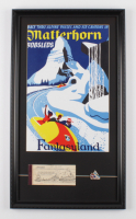 "Disneyland ""Matterhorn"" 15x26 Custom Framed Print with Vintage Ticket & Matterhorn Pin at PristineAuction.com"