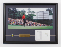 """Tiger Woods """"The Masters"""" 18x24 Custom Framed Photo Display with Masters Ball Marker & Augusta National Scorecard at PristineAuction.com"""