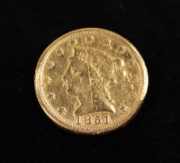 1851 $2.50 Indian Head Quarter Eagle Gold Coin at PristineAuction.com