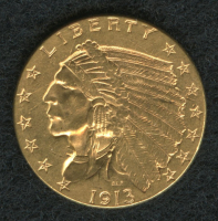 1913 $2.50 Indian Head Quarter Eagle Gold Coin at PristineAuction.com