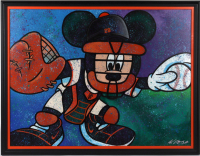 William Lopa Signed Mickey Mouse Giants 34x43 Custom Framed Print Display (PA LOA) (See Description) at PristineAuction.com