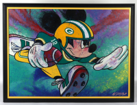 William Lopa Signed Mickey Mouse Packers 33x42 Custom Framed Print Display (PA LOA) (See Description) at PristineAuction.com