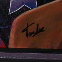 Stan Lee Signed Marvel 45x52.5 Custom-Framed William Lopa Print Display (Lee Hologram & PA LOA) (See Description) at PristineAuction.com