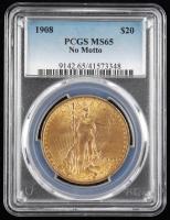 1908 $20 Twenty-Dollar Saint-Gaudens Double Eagle Gold Coin (No Motto) (PCGS MS65) at PristineAuction.com