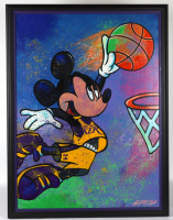 William Lopa Signed Mickey Mouse Lakers 33x42 Custom Framed Print Display (PA LOA) at PristineAuction.com