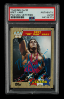 """Bret """"Hitman"""" Hart Signed 2017 Topps Heritage WWE #71 L (PSA Encapsulated) at PristineAuction.com"""
