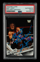 """Bret """"Hitman"""" Hart Signed 2017 Topps WWE Then Now Forever #183 (PSA Encapsulated) at PristineAuction.com"""