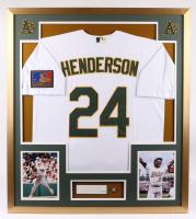 Rickey Henderson Signed Athletics 33x37 Custom Framed Cut Display with Jersey & HOF Lapel Pin (PSA COA) at PristineAuction.com