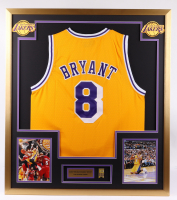 Kobe Bryant 32x36 Custom Framed Jersey Display with Lakers Championship Mini Metal Banner Pin (See Description) at PristineAuction.com