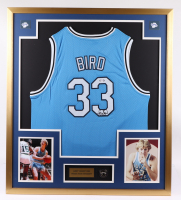 "Larry ""Legend"" Bird Signed 32x36 Custom Framed Jersey Display (PSA COA) at PristineAuction.com"