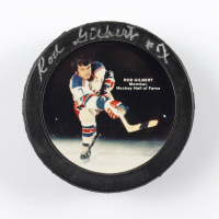 Rod Gilbert Signed Rod Gilbert Logo Hockey Puck (Schulte Hologram) at PristineAuction.com