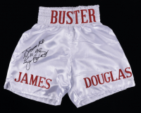 "James ""Buster"" Douglas Signed Boxing Trunks Inscribed ""Tyson KO 2/11/90"" (JSA COA) (See Description) at PristineAuction.com"