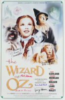 """""""The Wizard of Oz"""" 15.5x24 Movie Poster Signed by (6) with Mickey Carroll, Donna Stewart-Hardaway, Karl Slover & Jerry Maren Inscribed """"Munchkin"""" & """"Child Munchkin"""" (JSA COA) at PristineAuction.com"""