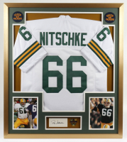 Ray Nitschke Signed 34x38 Custom Framed Cut Display with Super Bowl Pin (PSA) at PristineAuction.com