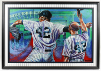"""Mariano Rivera Signed AROC Yankees 32x47 Custom Framed Print Display Inscribed """"Exit Sandman"""" (Steiner COA & PA LOA) (See Description) at PristineAuction.com"""