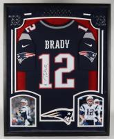 Tom Brady Signed Patriots 34x42.5 Custom Framed Jersey Display with LED Lights (Fanatics Hologram) at PristineAuction.com
