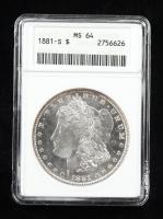 1881-S Morgan Silver Dollar (ANACS MS64) at PristineAuction.com
