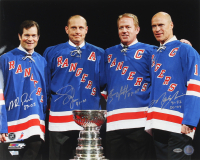 Rangers 16x20 Photo Signed by (4) with Mark Messier, Brian Leetch, Adam Graves & Mike Richter With Play-Year Inscriptions (COJO COA) at PristineAuction.com
