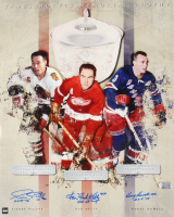 """Pierre Pilote, Red Kelly & Harry Howell Signed """"James Morris Memorial Trophy"""" 16x20 Photo With HOF Insriptions (COJO COA) at PristineAuction.com"""