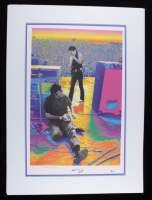 """Carlos Santana Signed LE 28x38 Custom Matted Lithograph Display Inscribed """"Cheers"""" (Beckett COA) at PristineAuction.com"""