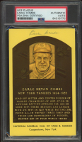 Earle Combs Signed Hall of Fame Plaque Postcard (PSA Encapsulated) at PristineAuction.com