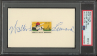 Buck Leonard Signed 3x5 Index Card with 1969 Professional Baseball Logo Postage Stamp (PSA Encapsulated) at PristineAuction.com