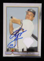 Chipper Jones Signed 2001 Bowman Chrome Rookie Reprints Relics #6 Jersey (Topps Hologram) at PristineAuction.com