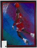 Michael Jordan Signed Bulls LE 35.5x43.25 Custom Framed Bill Lopa AROC Lithograph Display (Pristine Auction LOA & UDA COA) (See Description) at PristineAuction.com